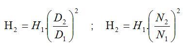 Fórmula para determinar a altura manométrica segundo as leis de afinidade