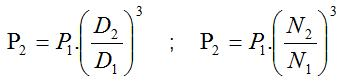 Fórmula para definir potência segundo as leis de afinidade