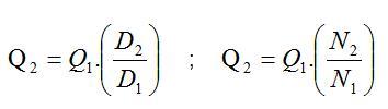 Fórmula para definir a vazão segundo as leis de afinidade