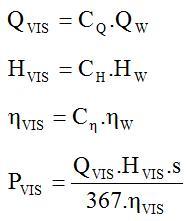 Fórmula para determinar a performance viscosa quando a performance com água é conhecida
