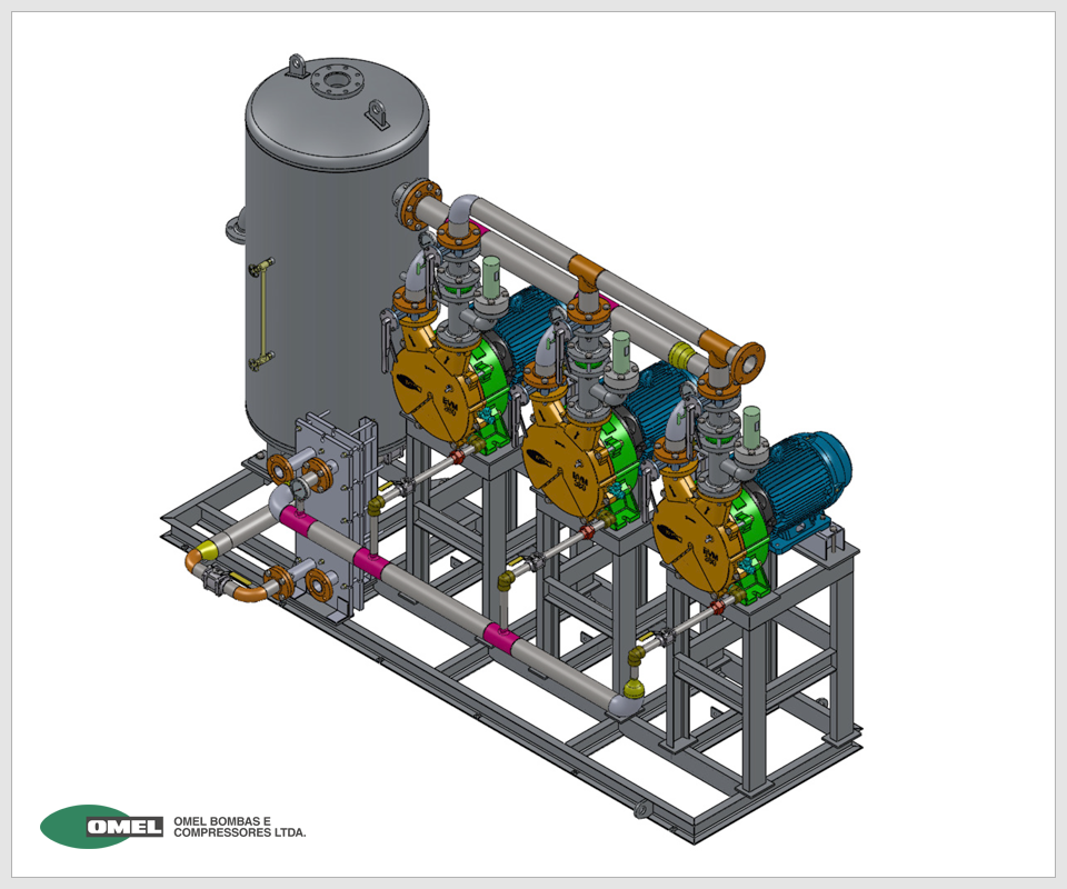 OMEL - Sistemas de Vácuo e Dosagem - Conjunto BVM-M-380 130 com Tanque separador e Trocador de calor