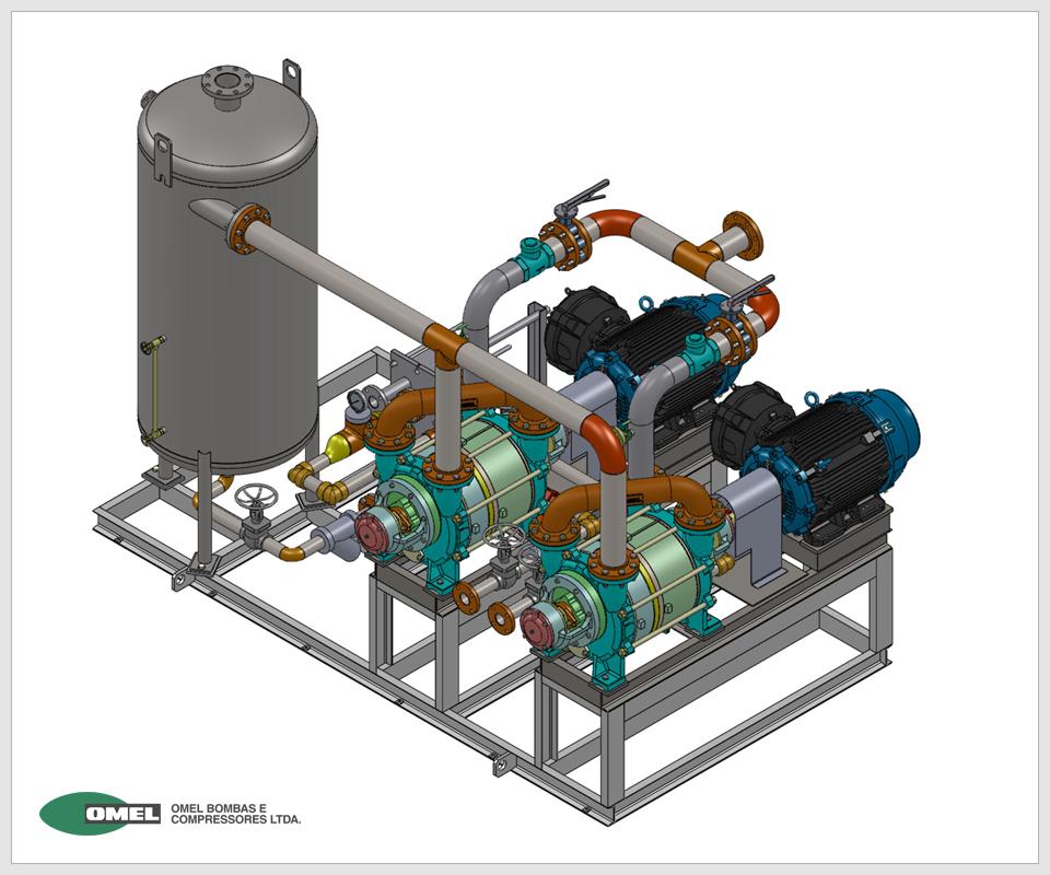 OMEL - Sistemas de Vácuo e Dosagem - Conjunto BLN-M-380 200 com tanque separador e trocador de calor