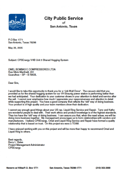 OMEL - Reference letter from international clients - City Public Service Texas
